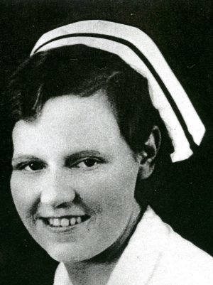 Portrait of nurse Jean Ewen, in cap