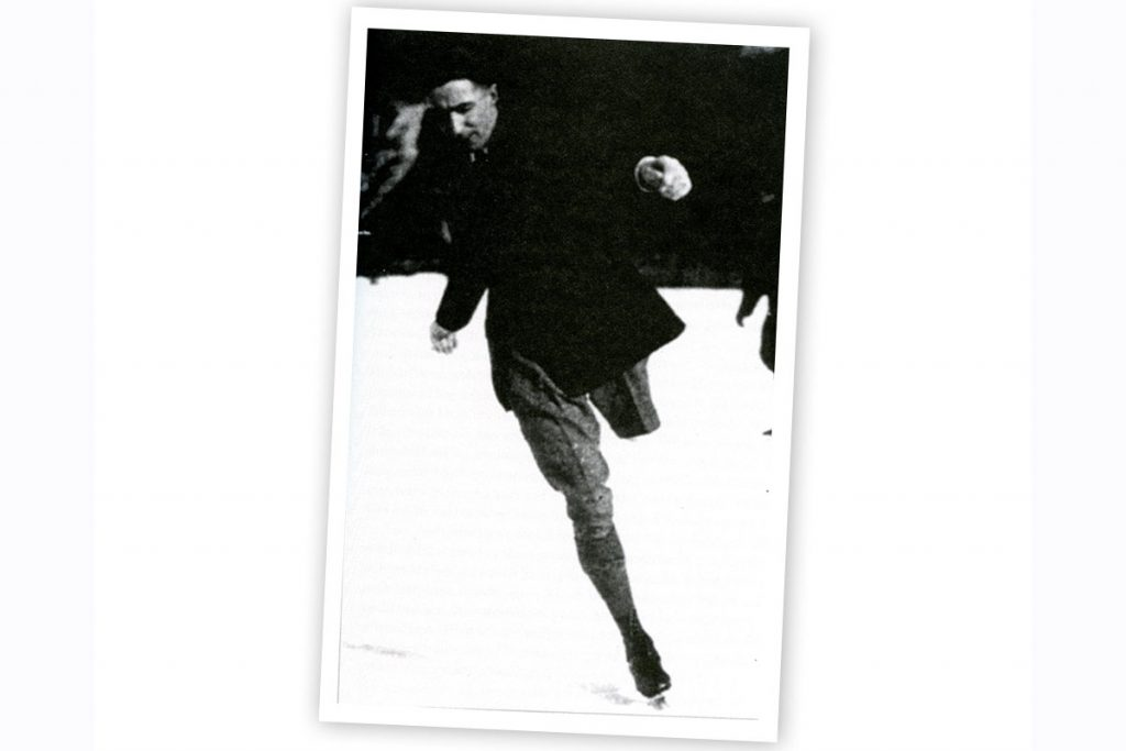 Photo of Norman Falkner, one-legged figure skater