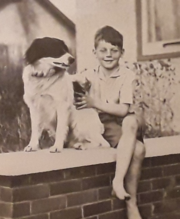 Farley Mowat and dog Mutt.
