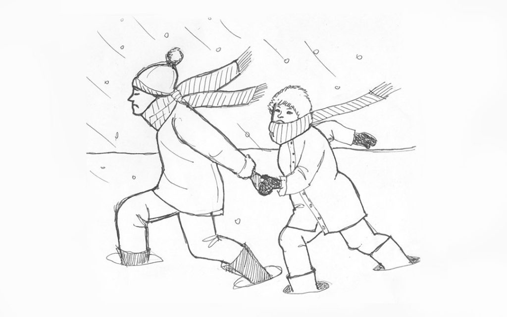image of couple trudging through high snowbanks