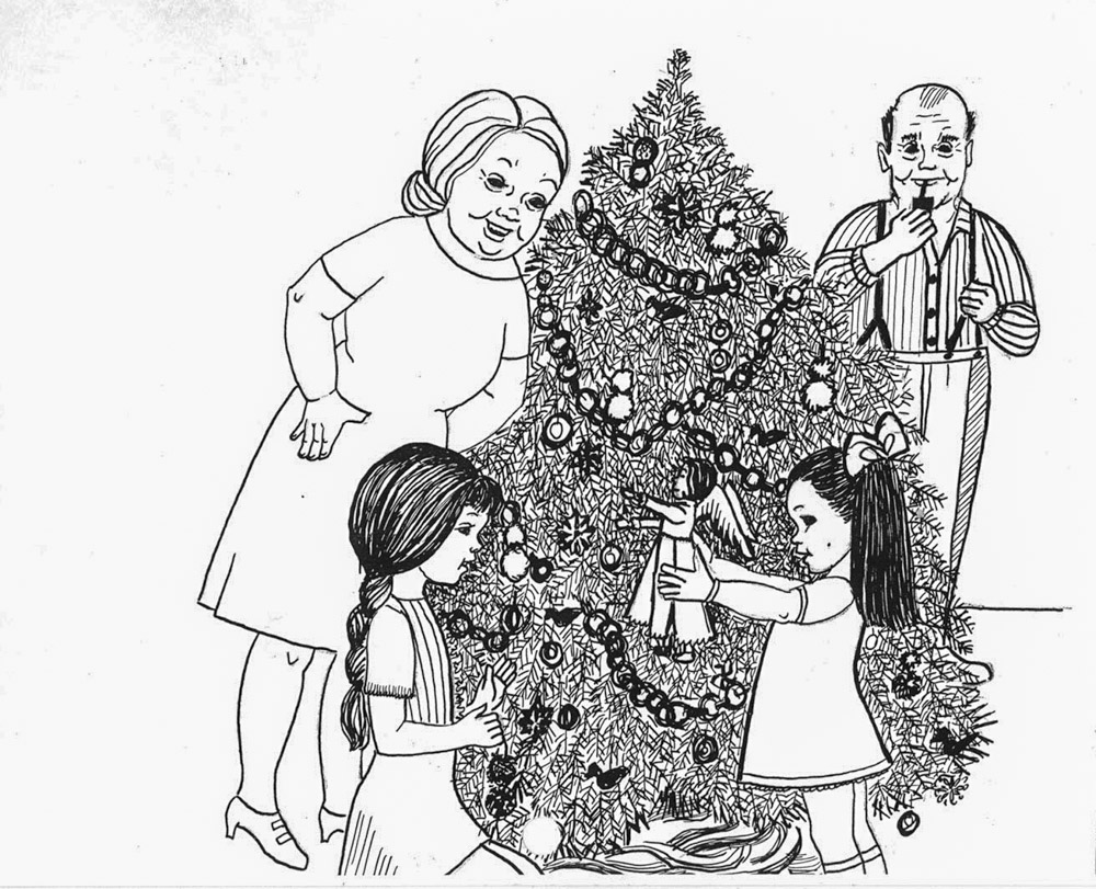 illustration of family with Christmas tree