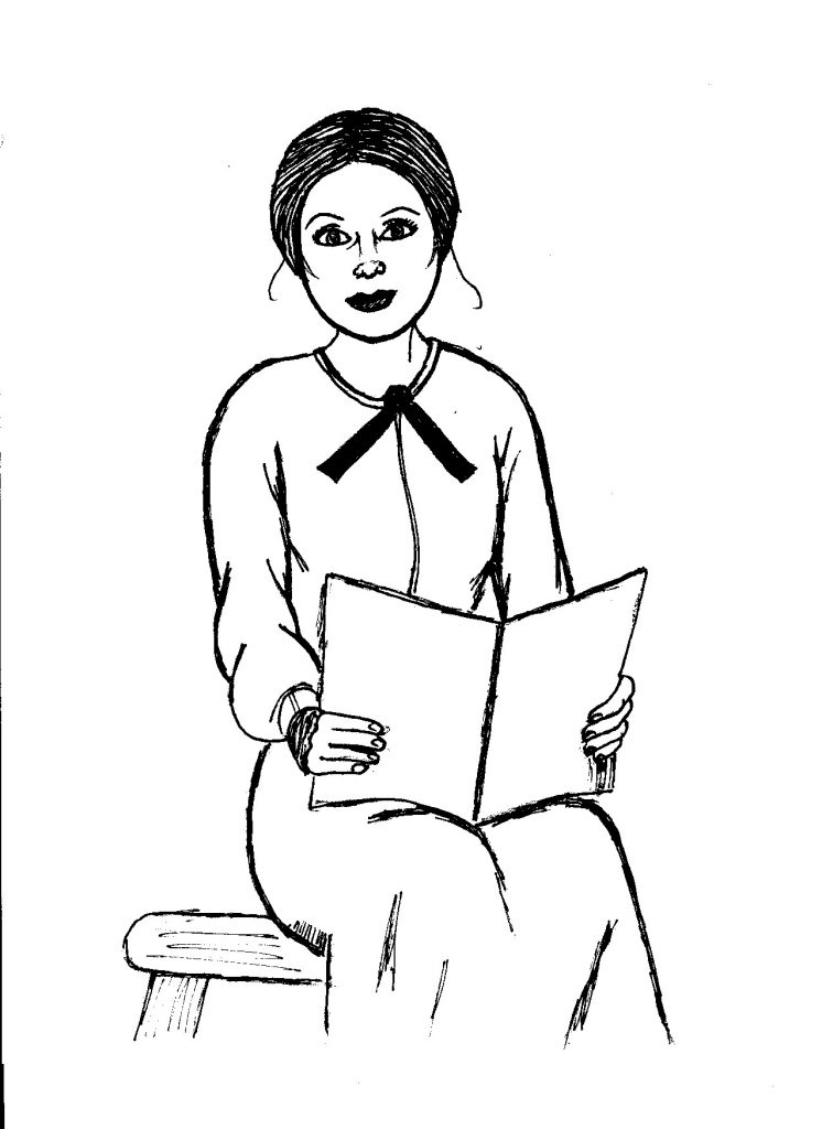 Drawing of school teacher, seated